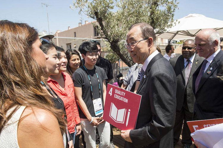 Photo: UN Secretary-General Ban Ki-moon meets with winners of the Cannes Young Lions competition in France. Credit; UN Photo/Eskinder Debebe