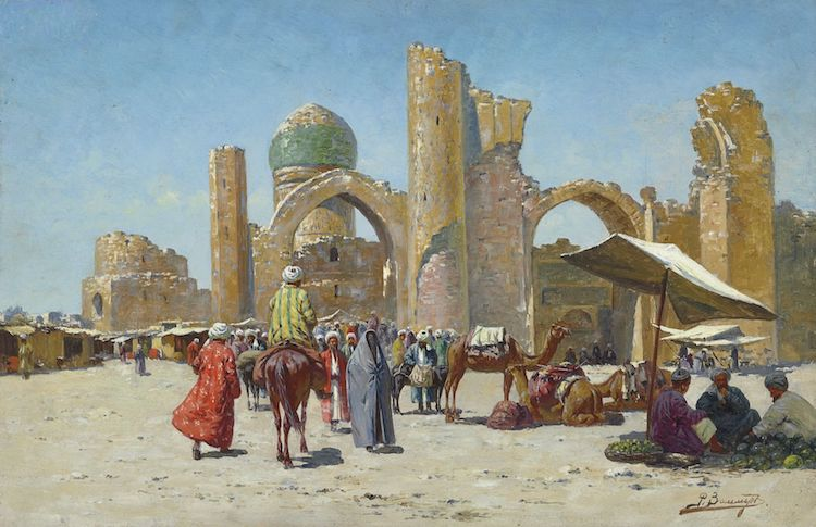 Photo: Samarkand, by Richard-Karl Karlovitch Zommer (1866–1939) - Christie's, LotFinder: entry 5146250 (sale 7684, lot 349, London, 26 November 2008). Credit: Wikimedia Commons.