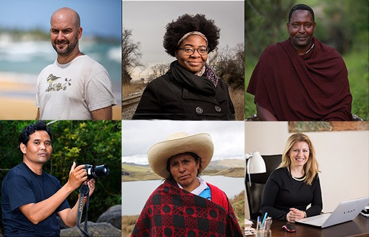 Photo: 2016 Goldman Prize Winners (left to right) Luis Jorge Rivera Herrera, Puerto Rico: Destiny Watford, United States; Edward Loure, Tanzania; Leng Ouch, Cambodia; Máxima Acuña, Peru; and Zuzana Čaputová, Slovakia. Credit: Goldmanprize.org
