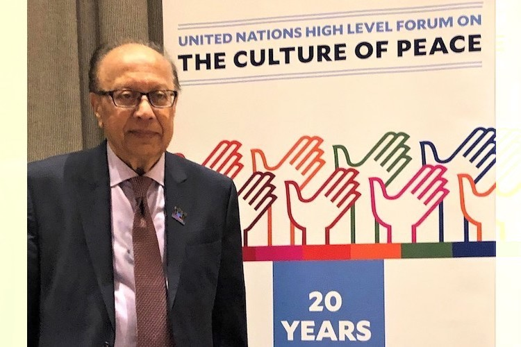 Photo: Ambassador Anwarul K. Chowdhury at 2019 HLF-CoP observing the 20th anniversary of the culture of peace at UN on 13 September 2019. Credit: UN
