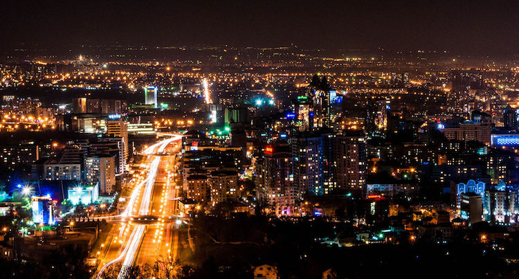 Photo: Almaty at night. Credit: Wikimedia Commons