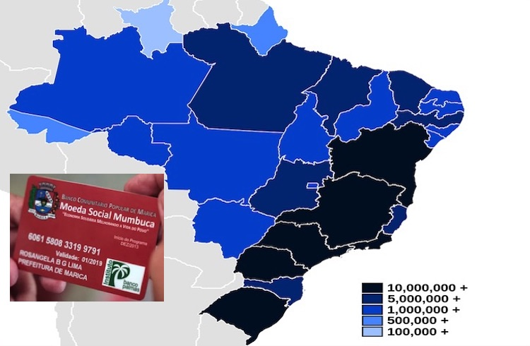 Collage with map of Brazilian states by population (from Wikimedia Commons) and Basic Income card (from Vox).