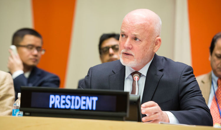 Photo: General Assembly President Peter Thomson briefs delegates on the strategy of his office to support the implementation of the Sustainable Development Goals. UN Photo/Manuel Elias