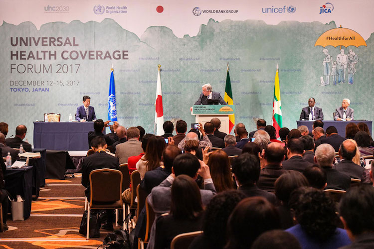 Photo: Secretary-General António Guterres addresses the global Universal Health Coverage Forum on December 14, in Tokyo, Japan. UN Photo/Curtis Christophersensik