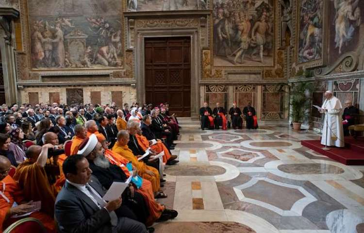 Photo: Pope Francis addresses participants in a conference on religions and the sustainable development goals, in the Vatican's Clementine Hall March 8, 2019. Credit: Vatican Media.