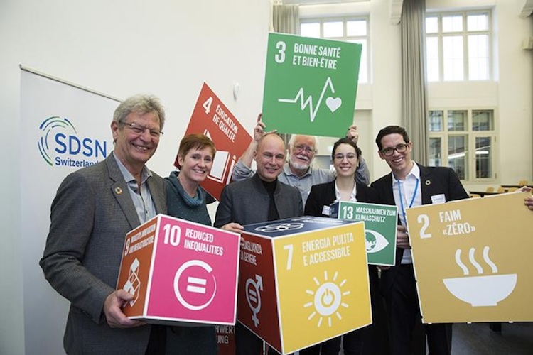Photo: (L to R): Urs Wiesmann, Co-Chair of SDSN Switzerland; Katrin Muff, Conference Facilitator; Bertrand Piccard, Solar Impulse Foundation; Jacques Dubochet, University of Lausanne; Océane Dayer, Co-Chair of SDSN Switzerland; Michael Bergöö, Acting Managing Director of SDSN Switzerland. Credit: Peter Lüthi, Biovision.