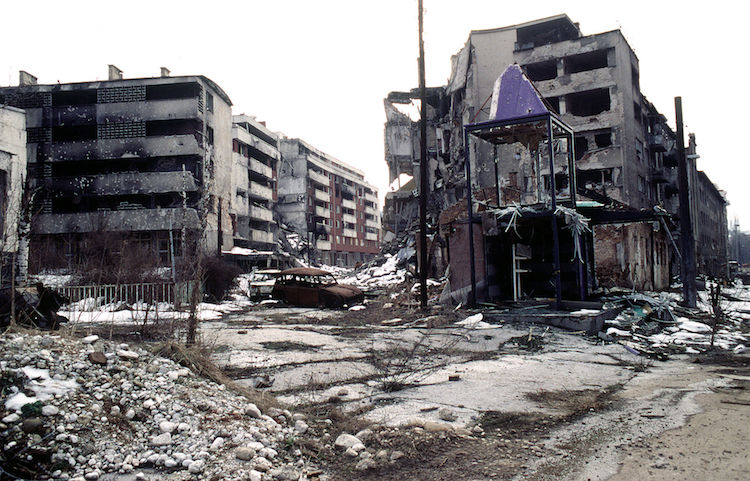 Photo: View of Grbavica, a neighbourhood of Sarajevo, approximately 4 months after the signing of the Dayton Peace Accord that officially ended the war in Bosnia. Source: Public Domain (PD-USGov-Military)