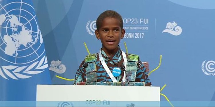 Photo: Timoci Naulusala from Fiji addressing UN Climate Conference. Credit: UNFCCC