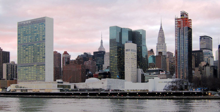 Photo: United Nations Headquarters in New York City, view from Roosevelt Island. Credit: Neptuul | Wikimedia Commons.