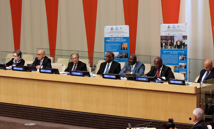 Photo: Ambassador Anwarul K. Chowdhury (third from left), former Under-Secretary-General and High Representative of the United Nations, who is the Chairman of the Global Forum on Human Settlements (GFHS) since 2008, delivered the opening address to the 13th GFHS Annual Session in Bangkok on 30 October 2018. Credit: GFHS.