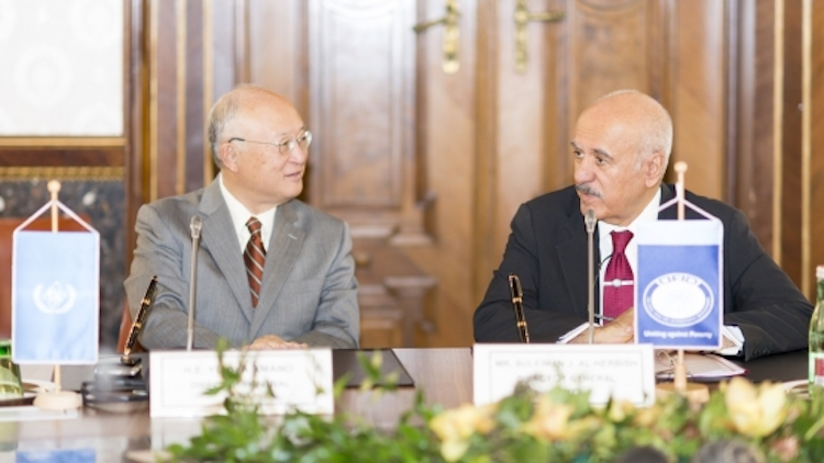 Photo: IAEA Director General Yukiya Amano (left) and OFID Director-General Suleiman J Al-Herbish (right) at the conclusion of an agreement to increase food security and promote sustainable agriculture in Asia. Credit: OFID.