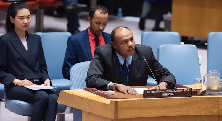 "Photo: Ashraf El Nour, Director of IOM Office to UN New York addressing the UN Security Council Meeting on the ""Maintenance of international peace and security: Trafficking of persons in conflict situations"" on 21 November 2017."