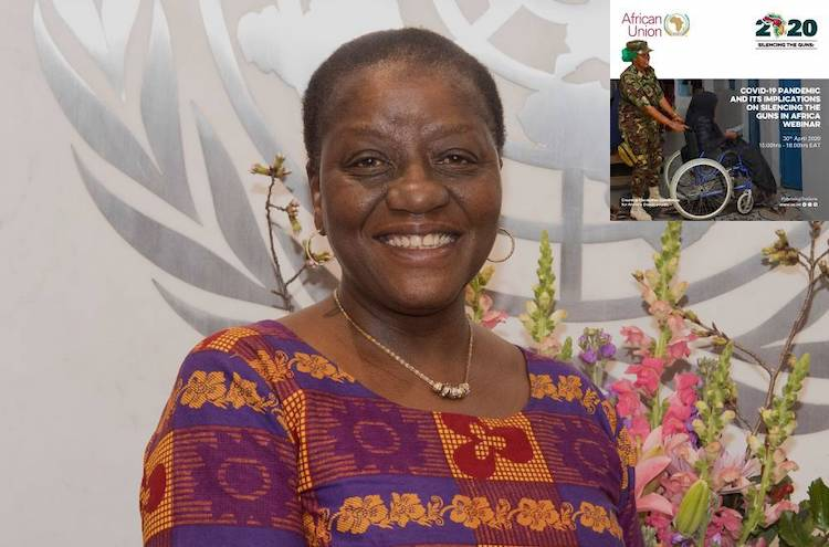 Photo: Collage with focus on Bience Gawanas, Under-Secretary-General and Special Adviser on Africa to the UN Secretary-General with 2020 African Dialogue Series banner on top right. Source: OSAA.