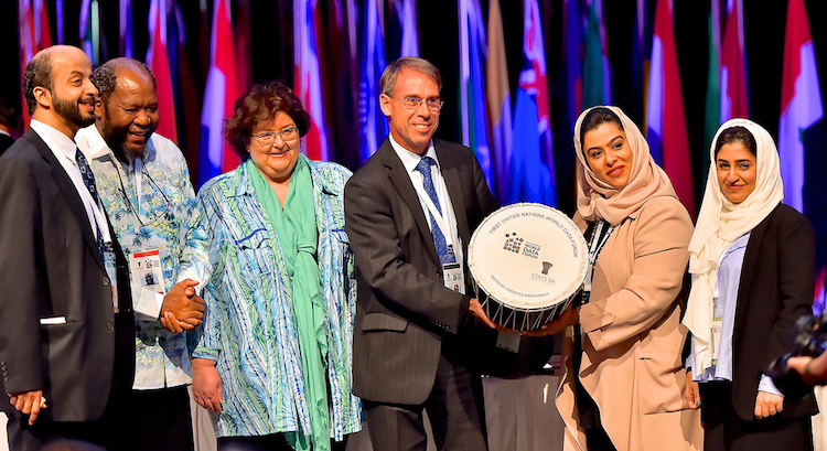 Photo: Handover of next UN World Data Forum to UAE. Credit: Stats SA