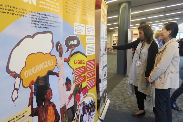 Photo: A glimpse of the exhibition on human rights education. Credit: NGO Working Group on Human Rights Education and Learning.