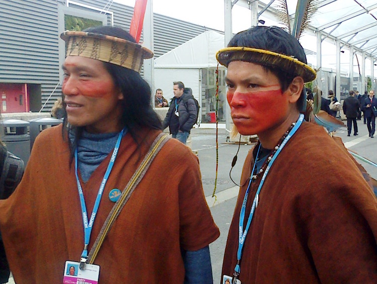 Photo: Indigenous environmental activists at COP21 in Paris in December 2015.