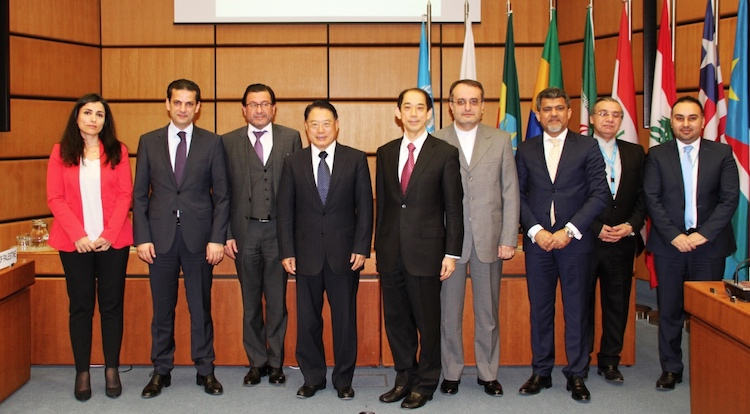 Photo: Representatives of countries to benefit from Japan-funded projects with UNIDO Director General Li Yong (fourth from left) and Ambassador Mitsuru Kitano of Japan (fifth from right). Credit: UNIDO