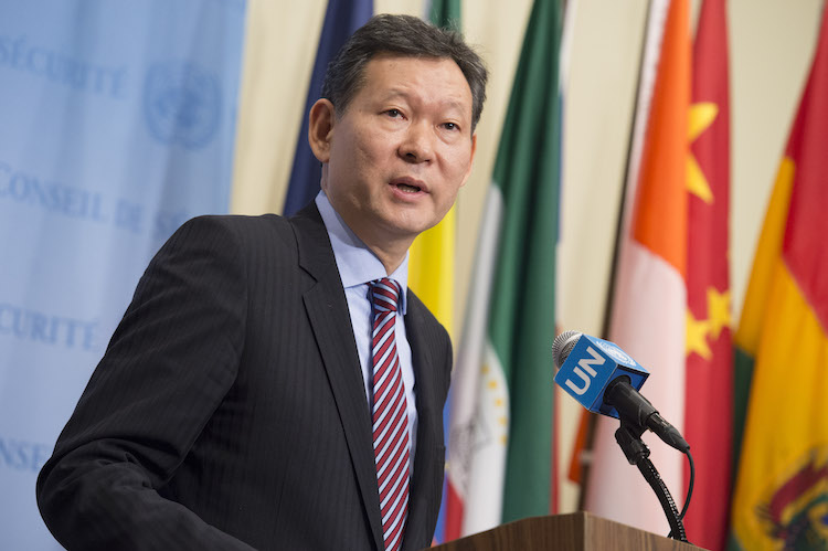 Photo: Kairat Umarov, Permanent Representative of Kazakhstan to the UN and President of the Security Council for the month of January, speaks to press following Security Council consultations on the United Nations Regional Centre for Preventive Diplomacy for Central Asia (UNRCCA) and other matters. 22 January 2018. United Nations, New York. UN Photo/Loey Felipe