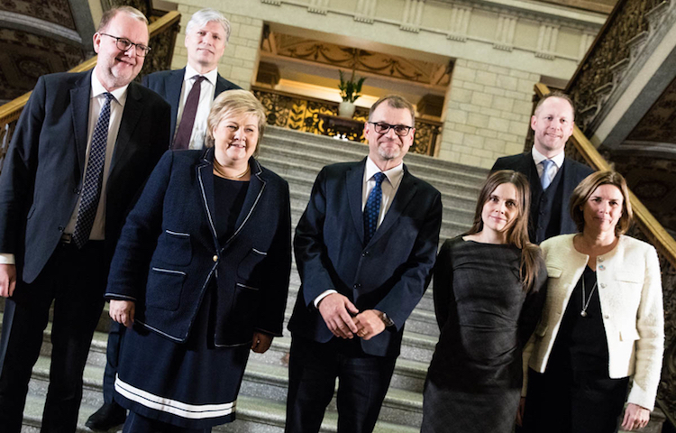 Photo: Gathered at the climate summit in Helsinki, from back left: Norway's Minister of Climate and Environment Ola Elvestuen; Denmark's Minister of Energy, Utilities and Climate Lars Christian Lilleholt; Norway's Prime Minister Erna Solberg; Finland's Prime Minister Juha Sipilä; Iceland's Prime Minister Katrin Jakobsdóttir; Sweden's Minister for International Development Cooperation and Climate, and Deputy Prime Minister Isabella Lövin; and Iceland's Minister for the Environment and Natural Resources Guðmundur Ingi Guðbrandsson. Photographer: Laura Kotila/Valtioneuvoston kanslia