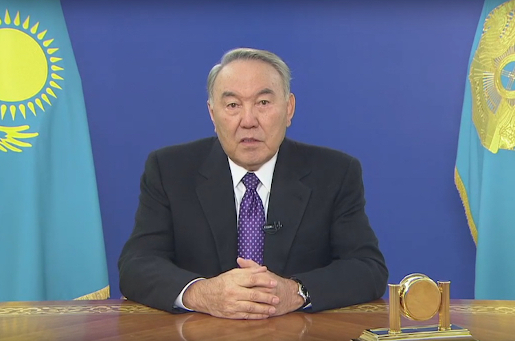 Photo: President Nazarbayev explaining reform programme in a special TV programme on January 25, 2017. Credit: inform.kz