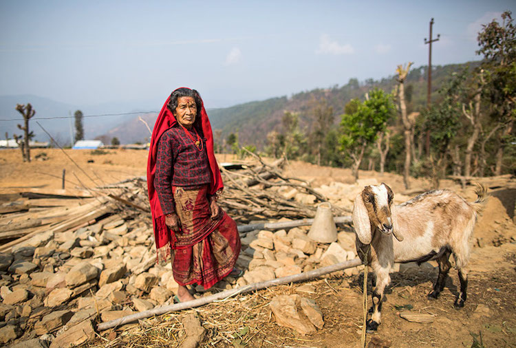 "Photo: ""This is where our house used to be,"" says Bishnu Maya. Credit: UN Women/N. Shrestha"