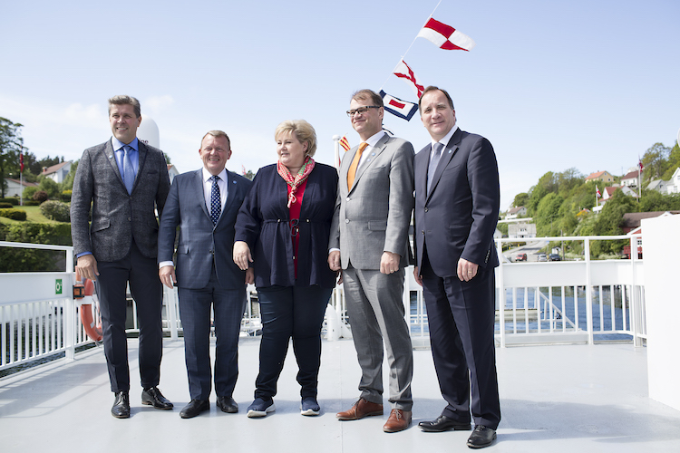 Leaders of the five largest Nordic countries announce support for sustainable development goals (SDGs). Credit: Nordic Cooperation