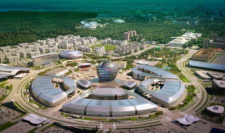 Photo: A bird's eye view of EXPO 2017 Pavillons. Credit: expo2017astana.com