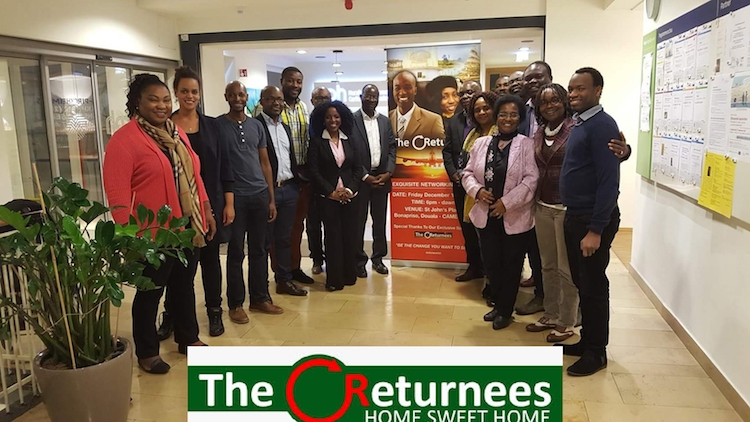 Returnees pose for the press at the Cameroon Diaspora Forum organised by the Cameroon government from June 26 to 30. Credit: Ngala Killian Chimtom