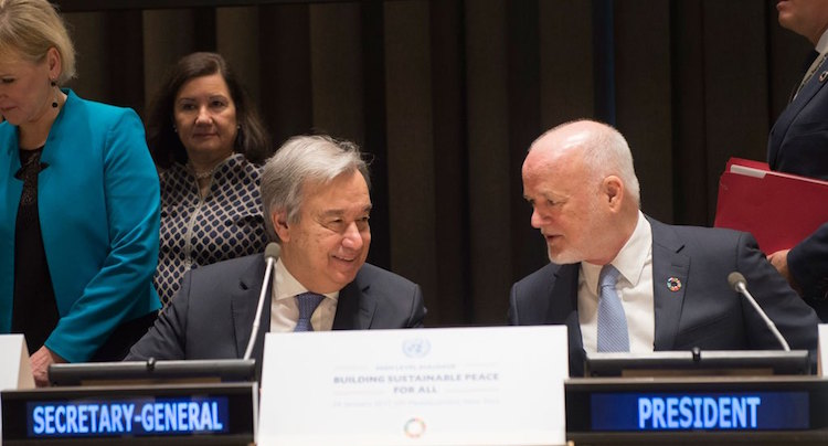 Photo: UN Secretary-General Guterres (left) and General Assembly President Thomson at the high-level dialogue on January 24. Credit: UN