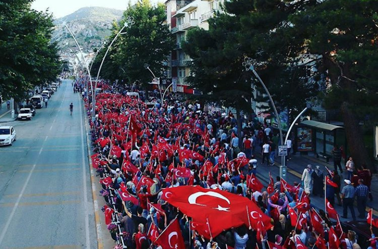 Photo: A view of the street demonstration against the coup on 17 July 2016. Credit: Wikimedia Commons.