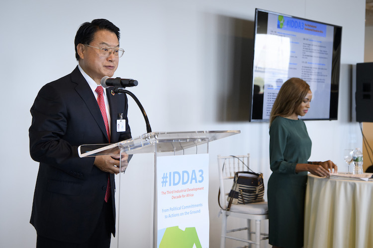 "Photo: UNIDO DG LI Yong addresses a special event, ""Third Industrial Development Decade for Africa (2016-2025): From political commitment to actions on the ground"". 21 September 2017. Credit: UN Photo/Manuel Elias"